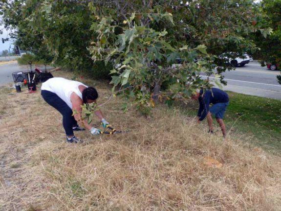 Chris & Channette cutting down the high grass