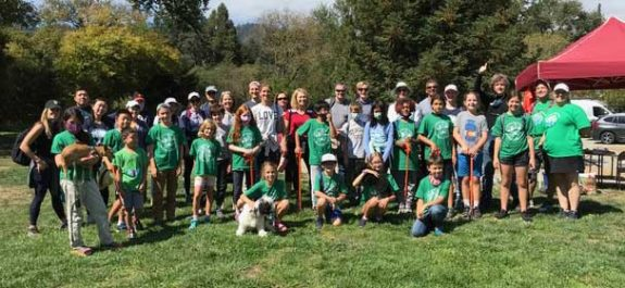 The students and parents from Old Orchard School in Campbell who came up to help with the Clean Up and camp out at Henry Cowell.